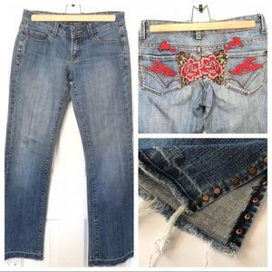 Embroidered Raw Hem Jeans Sz 24